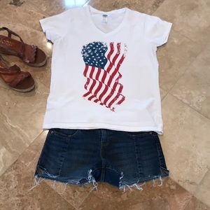 American Flag V neck T Shirt